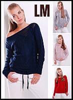 44-50 размер Модный свитер 8822 женский синий шерстяной теплый зимний осенний теплый ажурный однотонный
