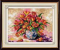 """Набор для рисования камнями (холст) """"Яркие тюльпаны"""" LasKo"""