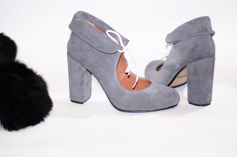 b7ec578f753e Женские серые туфли на толстом каблуке натуральная замша - ГЛЯНЕЦ    Интернет-магазин КОЖАНОЙ обуви