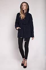 """Демисезонное женское пальто """"Силуэт"""" т.-синий, 48"""