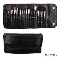 Набор кистей для макияжа ML-mix-2 - 21шт (ворс: соболь,нейлон) в мягком чехле на кнопках (черный)  Lady Victory,