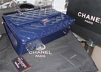 Сумка женская синего цвета Chanel натуральная кожа