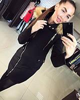 """Женское зимнее пальто """"Силуэт зима"""" от производителя черный с рыжей опушкой, 44"""