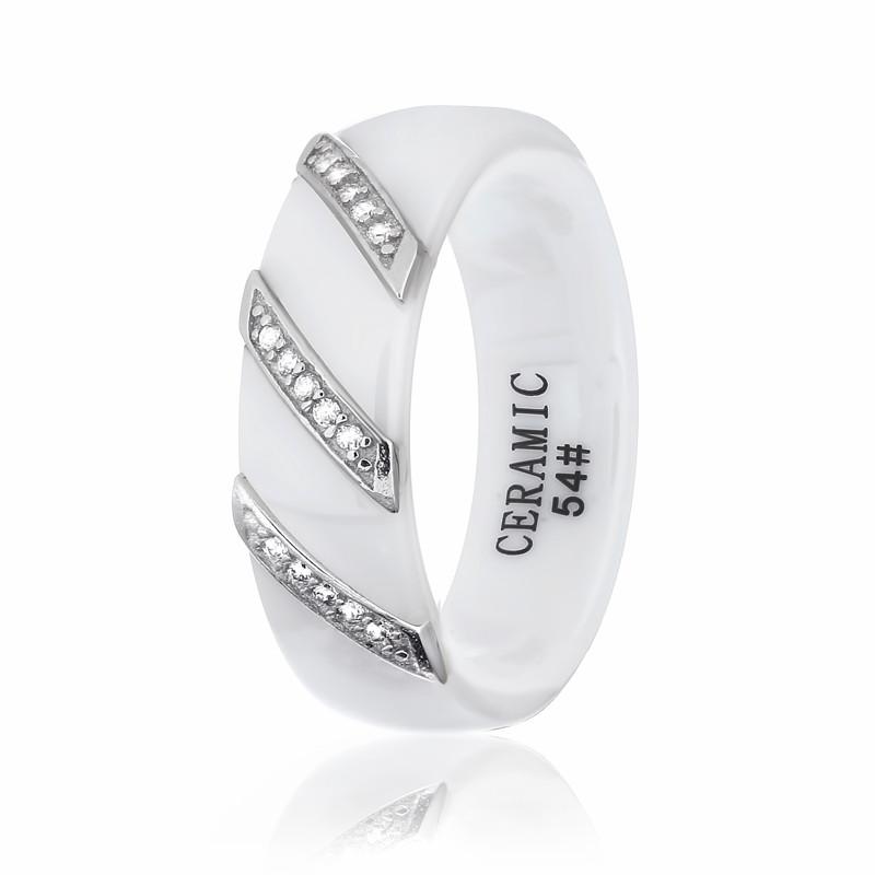 """Серебряное кольцо с белой керамикой """"1008"""""""