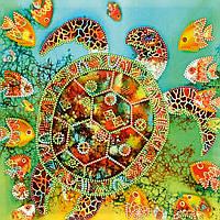 Схема для вышивки бисером на натуральном художественном холсте Морская черепаха