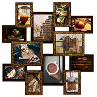 Настенная фоторамка Сапфир на 12 фотографий (золотой шоколад)