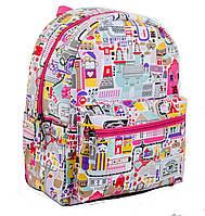 Модный подростковый рюкзак для девочки 8л. 1 ВЕРЕСНЯ ST-15 Town, 28*22*12, 553797 белый с розовым