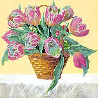 Схема для вышивки бисером на натуральном художественном холсте Корзина тюльпанов