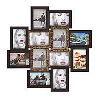 Фоторамка на стену Нэйла на 12 фотографий (золотой шоколад)