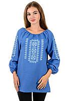 Сорочка блузка вышиванка женская голубая лен (Украина)