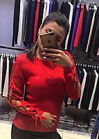 Стильная красная женская кофта хлопок (реплика) Armani