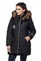 Парка с натуральной опушкой, черная куртка женская с натуральной опушкой