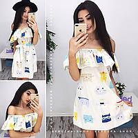 Женское красивое хлопковое платье (7 цветов) принт-7, S-M