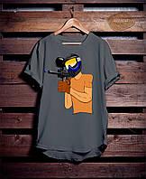 Серая мужская футболка с принтом Пейнтбол
