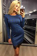 Красивое нарядное облегающее платье с гипюром кружевом синее в клетку 42-44 44-46