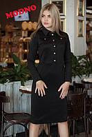 Элегантное платье-рубашка с воротником (2 цвета) черно-белый, М