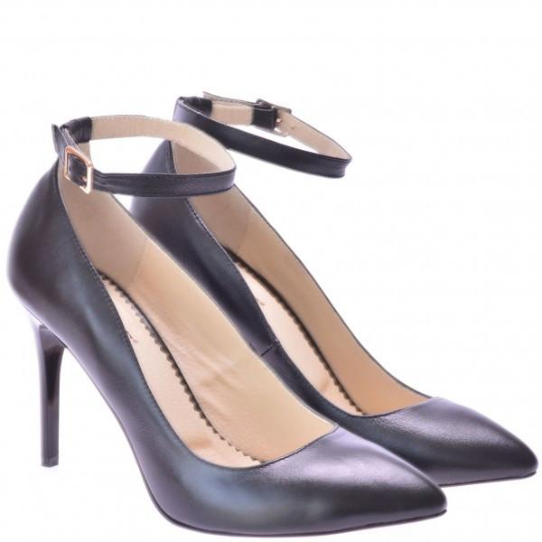 Женские кожаные туфли черного цвета на каблуке - Интернет магазин кожаной  обуви