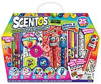 Ароматный набор для творчества ВЕСЕЛЫЕ ФРУКТЫ ручки, маркеры, наклейки, масса для лепки Scentos (42096)