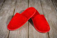 Тапочки гостевые EURO TEXTILE велюровые (закрытый мыс) красные для дома, офиса, отелей, фото 1