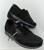 Мужские спортивные туфли кожаные черный / под заказ