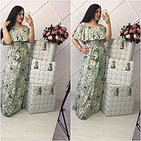 Шикарное летнее платье в пол с воланом