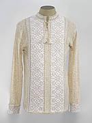 Белая льняная мужская вышиванка на длинный рукав
