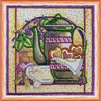 Набор для вышивки бисером на натуральном художественном холсте Чай с фиалками