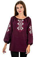 Женская стильная вышиванка сорочка блузка бордовая лен (Украина)