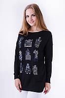 Стильный свитер прямого кроя с изображением флакончиков духов
