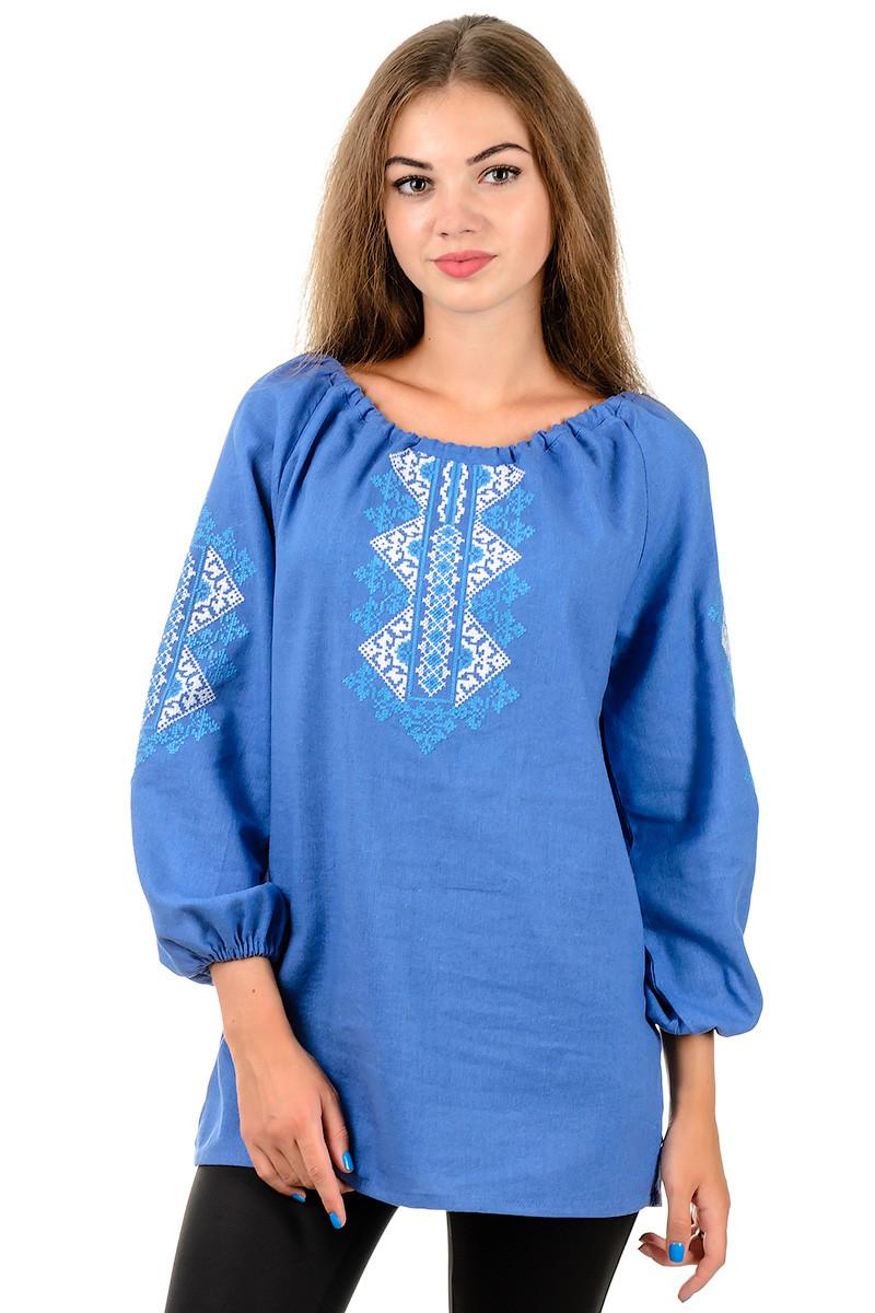Сучасна стильна жіноча вишиванка з довгим рукавом джинсова блакитна льон (Україна)