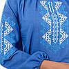 Современная стильная женская вышиванка с длинным рукавом джинсовая голубая лен (Украина), фото 4
