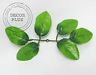 Лист розы 6-ка зеленый 19см
