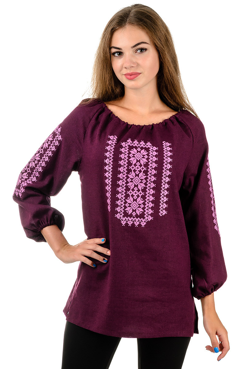Сучасна вишиванка жіноча сорочка блузка бордо льон (Украина) - Интернет  магазин Sport-sila 86bf5fe05c467