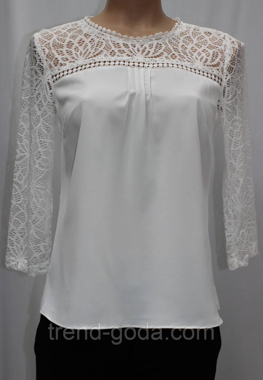 Блуза женская белая кружевная, большие размеры, рукав 3/4,Турция
