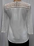 Блуза женская белая кружевная, большие размеры, рукав 3/4,Турция, фото 3