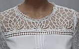Блуза женская белая кружевная, большие размеры, рукав 3/4,Турция, фото 4