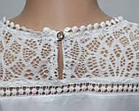 Блуза женская белая кружевная, большие размеры, рукав 3/4,Турция, фото 5