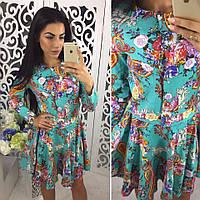 Женское красивое льняное платье (3 цвета) принт-1, S