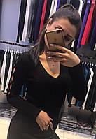 Черная женская кофта с вышивкой (реплика) Armani