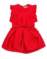 Модное платье для вашей принцессы в красном цвете с пояском