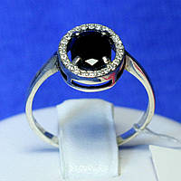 Серебряное кольцо с черным фианитом в центре 11095ч