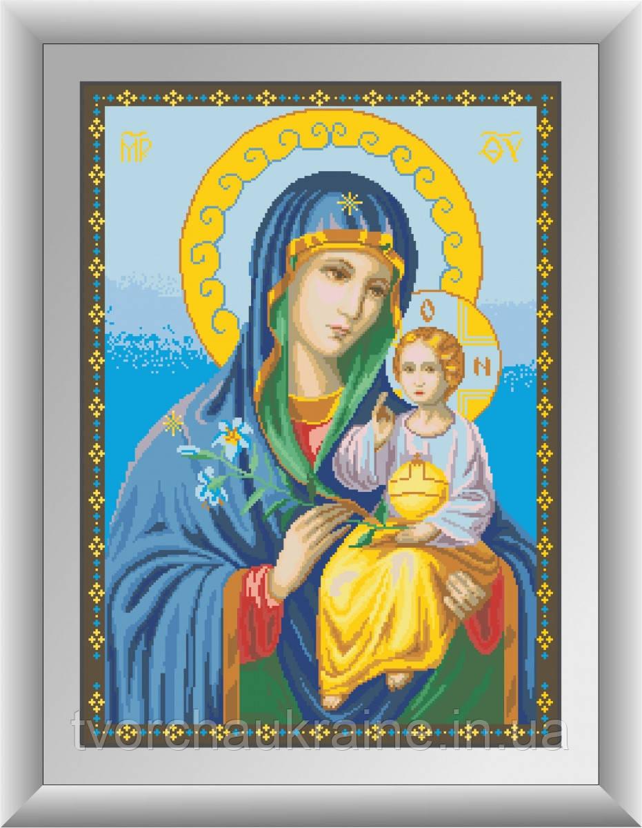"""Ікона Божої Матері """" Нев'янучий цвіт. Набір алмазної живопису (квадратні, повна)"""