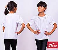Красивая летняя блузка с коротким рукавом и камушками