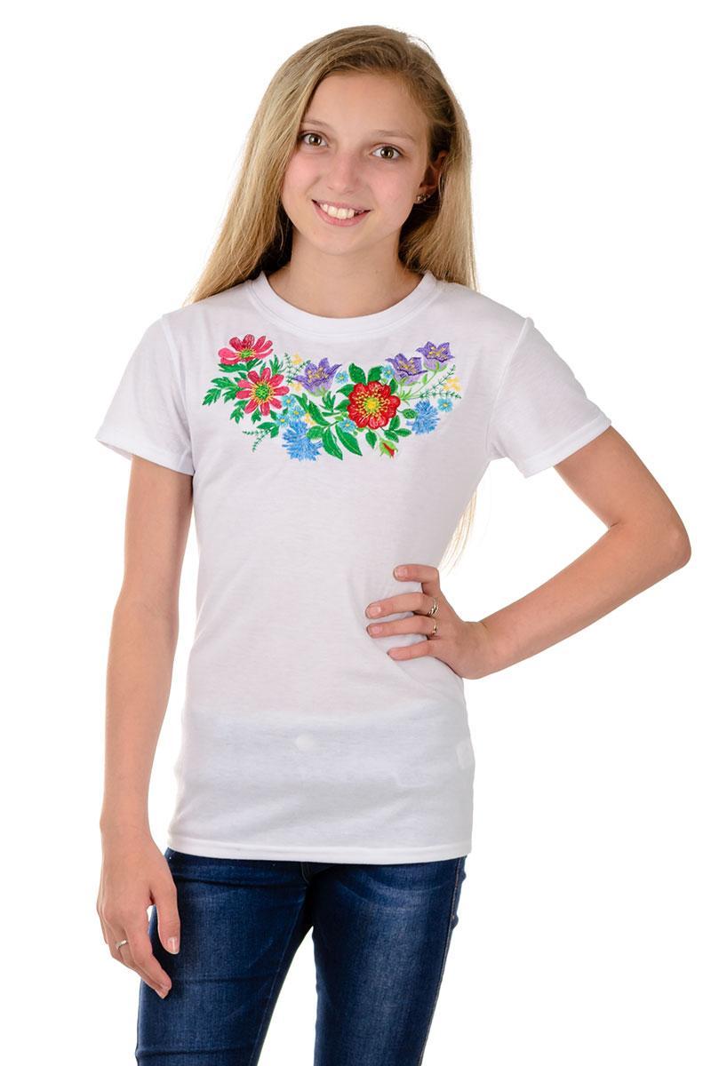 Детская футболка с красивой вышивкой для девочек белая летняя трикотажная хб (Украина)