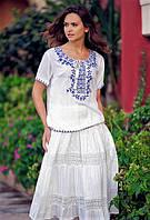 Летняя белая юбка полуклеш в стиле бохо с прошвой и кружевом Испания