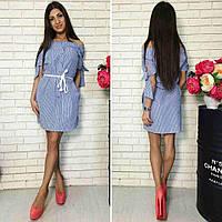 Женское стильное платье-рубашка с поясом (3 цвета)