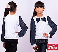 Блузка в горошек с длиным рукавом и бантом