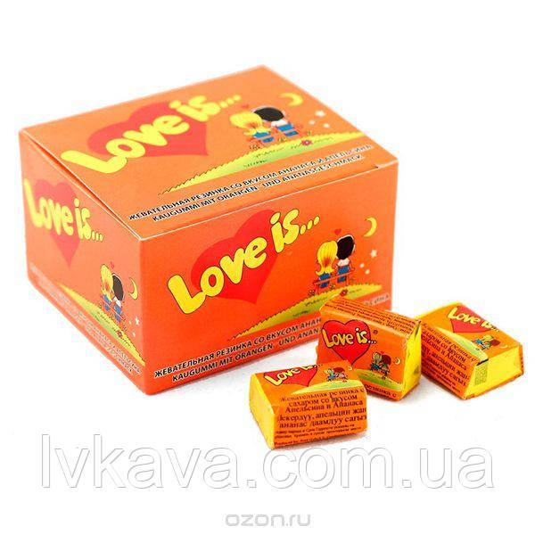 Жевательная резинка  Love is со вкусом апельсина и ананаса  , 4,2  гр х 100 шт
