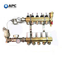 """Коллектор латунный """"APC"""" APC04 в сборе с 1м конечным элементом, 4 контура"""