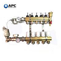 """Коллектор латунный """"APC"""" APC06 в сборе с 1м конечным элементом, 6 контуров"""